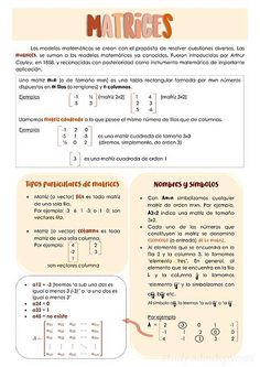 Apunte de matemática. Matrices Bullet Journal Notes, Bullet Journal School, Bullet Journal Ideas Pages, Cute Notes, Pretty Notes, Good Notes, Life Hacks For School, School Study Tips, Class Notes