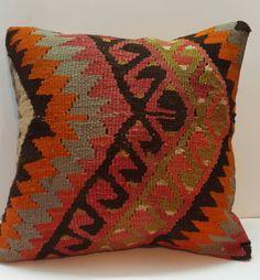 Vintage Handwoven Wool Turkish Kilim Pillow Cover Kilim Pillows Decorative Pillows Sham pillow case Ethnic Pillow Boho Pillow unusual design on Etsy, $48.00