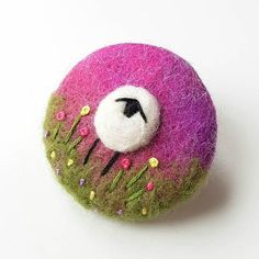 Felted sheep brooch by Tilly Tea Dance  https://www.etsy.com/uk/listing/468469999/sheep-brooch-in-needle-felting-and-hand