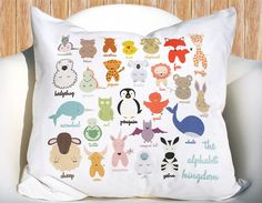Alphabet Kingdom Animals 16 18 inch removable throw pillow cover case eco friendly baby children nursery gift