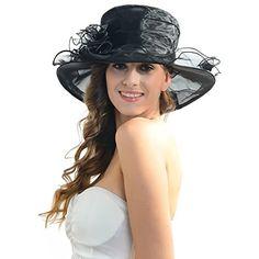 ccece10848c Women Kentucky Derby Church Dress Organza Hat Wide Brim Flat Hat Caps Hats