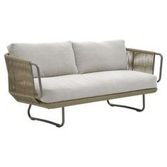 Babylon Sofa in Gray with Off-White Cushions