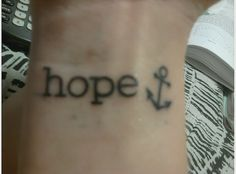 Hope Tattoo On Wrist Wrist tattoo.