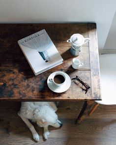 Coffee moment with Kinfolk and a lovely dog. But First Coffee, I Love Coffee, Coffee Break, Morning Coffee, Sunday Morning, Black Coffee, The Kinfolk Table, Death Before Decaf, Coffee And Books