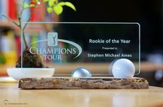 A custom Golf Award we made with base from salvaged maple wood and live bark edge. Recycled Jade glass and a golf ball. Golf Trophies, Crystal Awards, Fundraising Events, Golf Ball, Corporate Gifts, Evergreen, Communication, Jade, Recycling