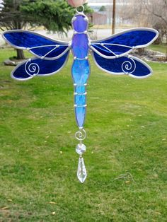 Stained Glass Dragonfly Suncatcher with Prism Dragonfly Stained Glass, Stained Glass Suncatchers, Stained Glass Crafts, Glass Butterfly, Faux Stained Glass, Stained Glass Lamps, Stained Glass Panels, Stained Glass Patterns, Leaded Glass