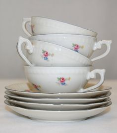Vintage EPIAG Czechoslovakian Porcelain Cups and Saucers, Shabby Chic Floral Cups and Saucers from The Eclectic Interior