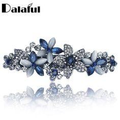 Rhinestone Hair Clip Barrette Hairpin Crystal Flower Accessories Wedding Jewelry #RhinestoneHair #Barrettes