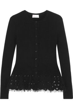 REDValentino | Twill and tulle-trimmed stretch-knit peplum cardigan | NET-A-PORTER.COM