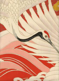Detail of a silk furisode featuring embroidery, yuzen-dyeing and gold foil outlining.  Late Meiji (1890-1912), Japan.  The Kimono Gallery