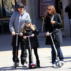 Scooting along: Christian Bale spent his day off from filming in Boston on Saturday with his wife Sibi and daughter Emmeline Electric Scooter For Kids, Kids Scooter, Christian Bale, New Movies, Good Movies, Micro Scooter, Star Wars, Family Outing, Best Actor