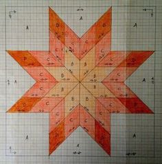Dibujo Estrella de la mañana Lone Star Quilt Pattern, Star Quilt Blocks, Star Quilts, Barn Quilt Designs, Barn Quilt Patterns, Quilting Designs, Painted Barn Quilts, Graph Paper Art, Diamond Quilt