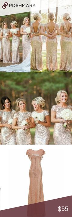 Rose gold dresses. I have three. Sizes 2, 8, 10 The dresses have been hemmed to fit about 5'2 height, but can be undone. The dresses are near perfect condition. They were only worn for a short tine. Pictures were taken outside so the very bottoms of the dresses on the inside are slightly dirty. Dresses Prom