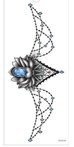 Tattoo Sticker 1pc new Chest large flower skull rose