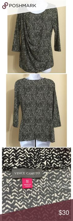 Vince Camuto Blouse Size M Vince Camuto * Draped at Side Blouse * 3/4 Sleeves * Black & Beige * Scoop Neck * Size M * 95% Polyester 5% Spandex * Machine Wash Cold * Made With Slit At Side So Material Will Drape Correctly Vince Camuto Tops Blouses