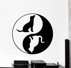 Wall Decal Yin Yang Pets Animals Cat Dog Home Interior Decor z4084