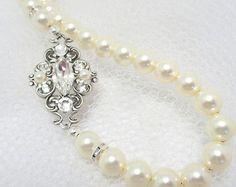 Nupcial collar perla y collar de cristal collar de por BridalCloset