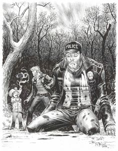 The Walking Dead, Issue 6 - Rick Grimes watches Carl kill Shane - by Tony Moore commission @ Toronto Comic Con 2014 Comic Art