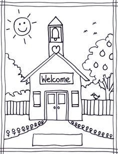 Coloring Pages Of School House | Coloring pages wallpaper