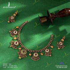 Get in touch with us on 990 444 3030 Antique Jewellery Designs, Gold Jewellery Design, Antique Jewelry, Gold Jewelry, Beaded Jewelry, Wedding Jewelry, Pearl Necklace Designs, Gold Earrings Designs, Gold Necklace