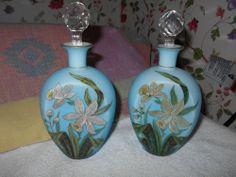 PAIR ANTIQUE BRISTOL ART GLASS DAFFODILL'S PERFUME BOTTLES~ENAMELED HAND BLOWN~