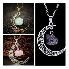 Cheap stone pendant, Buy Quality natural stone pendant directly from China natural crystal jewelry Suppliers: Vintage Moon Necklace Irregular Natural Stone Pendant Necklaces Multicolor Crystals Antique Bronze Chains Jewelry Acorn Necklace, Drop Necklace, Crystal Necklace, Pendant Necklace, Stone Necklace, Crystal Pendant, Vintage Moon, Jewelry Tags, Bronze