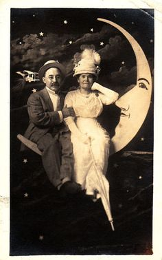 Vintage Old RPPC Photo Postcard Couple on Paper Moon Prop Airplane In Background