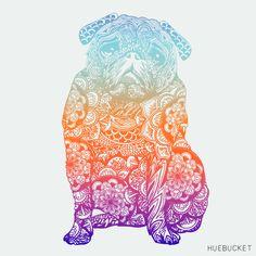Mandala Pug {id 318} by Huebucket