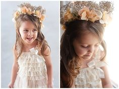 My sweet little cousin Johannah. I made her flower crown myself from dried baby's breath I sprayed with gold spraypaint and silk flowers.