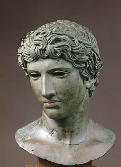 "Head of a young man, called the ""De Bénévent"" head C. 50 BC Roman."