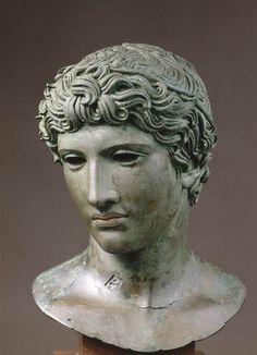 "Head of a young man, called the ""De Bénévent"" head C. 50 BC Roman."