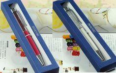 24 colors Swarovski Pen with Gift retail box case Diamond Crystal pen swarovski elements crystals wedding Xmas Christmas gift