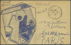 Pablo Picasso:Postcard to his friend Guillaume Apollinaire, (1918) (Originally posted by thunderstruck9)