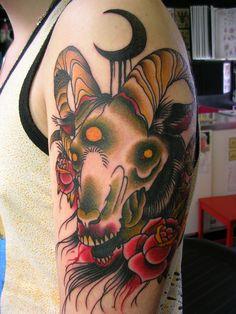 Derek Noble @ Lucky Devil Tattoo in Seattle, WA Top Tattoos, Head Tattoos, Sleeve Tattoos, Tattos, Trash Polka, Blackwork, Tattoo Goat, Half Moon Tattoo, Skull Reference