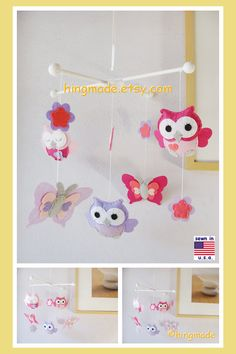 Owl Mobile,Baby Mobile ,Felt Mobile,Coral Nursery Decor, Ping and Purple Owl, Butterflies Mobile, Custom Mobile
