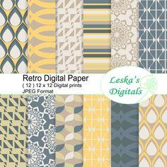 Pack rétro papier numérique, kit papier scrapbooking géométriques, motifs design rétro    Ensemble numérique papier Pack ce numériques comprend 12