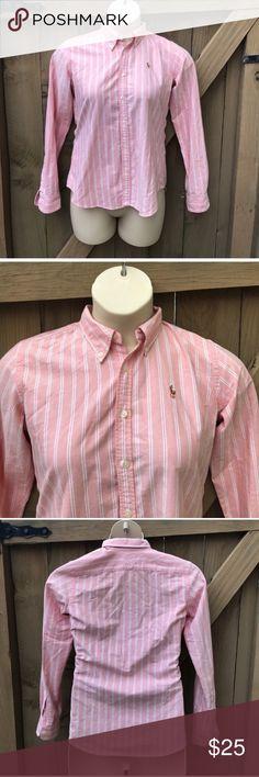 Ralph Lauren slim fit stripe button down size 8 Size 8 Ralph Lauren slim fit stripe button down: BIN 7 Ralph Lauren Tops Button Down Shirts