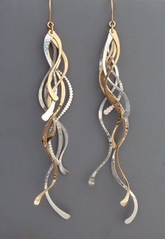Extra long sterling silver and gold filled feather like earrings, Rachel Wilder ...