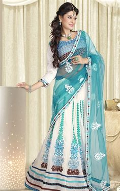 Picture of Exclusive White Indian Wedding Saree Online