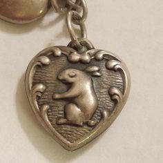 Sterling Silver Puffy Heart Charm - Bunny Rabbit - Engraved 'BG'