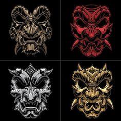 "466 To se mi líbí, 17 komentářů – Jared Mirabile (@sweyda) na Instagramu: ""The bronze, fire, pale and gold Samurai's #samurai #mask #vector #illustration #sweyda"""