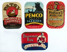 sardine labels - I know people who worked in Scarborough Maine when they had Sardine canneries