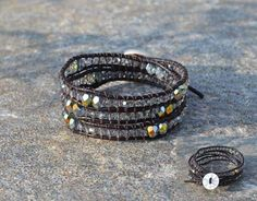 summer has landed... #leather #bracelet #beads #vintage #button #summer #boho #handmade #crystal #button