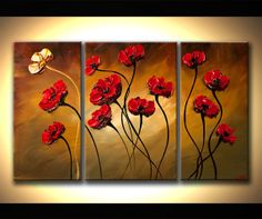 "Poppies Painting Original Contemporary Textured Floral on canvas by Osnat 50"" ready to hang Enormous on Etsy, $400.00"