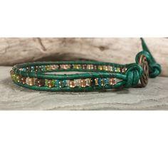 Leather Wrap Bracelet, Beaded Leather Bracelet, Multi Color Czech Glass