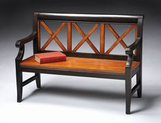"""Butler Loft Collection 15"""" Seat Height Transitional Cherry Bench"""