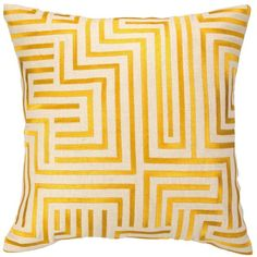 Trina Turk Pillow Embroidered Linen Mira Mesa Yellow found on Polyvore