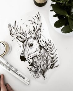 Floral fawn free tattoo design terryemi dibujos in 2019 free. Cool Art Drawings, Art Drawings Sketches, Animal Drawings, Tattoo Drawings, Body Art Tattoos, Sleeve Tattoos, Cervo Tattoo, Hirsch Tattoo, Deer Tattoo