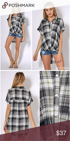 Plaid button up drape front hi lo top! LAST ONE Adorable cut- flattering and easy to wear! Button up collared drape front hi lo hemline! Love! Tops
