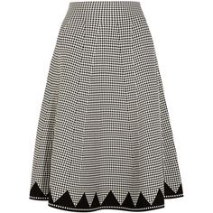 Alexander Wang Gingham stretch-knit midi skirt, Women's, Size: XS/S ($655) ❤ liked on Polyvore featuring skirts, black, geometric skirt, a line skirt, stretch knit skirt, pull on skirts and calf length skirts